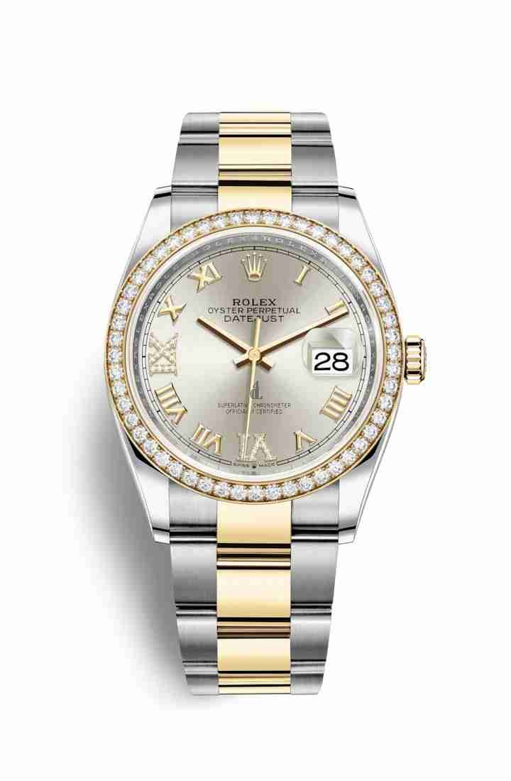 Rolex Datejust 36 Yellow Rolesor Oystersteel yellow gold 126283RBR Silver set diamonds Dial