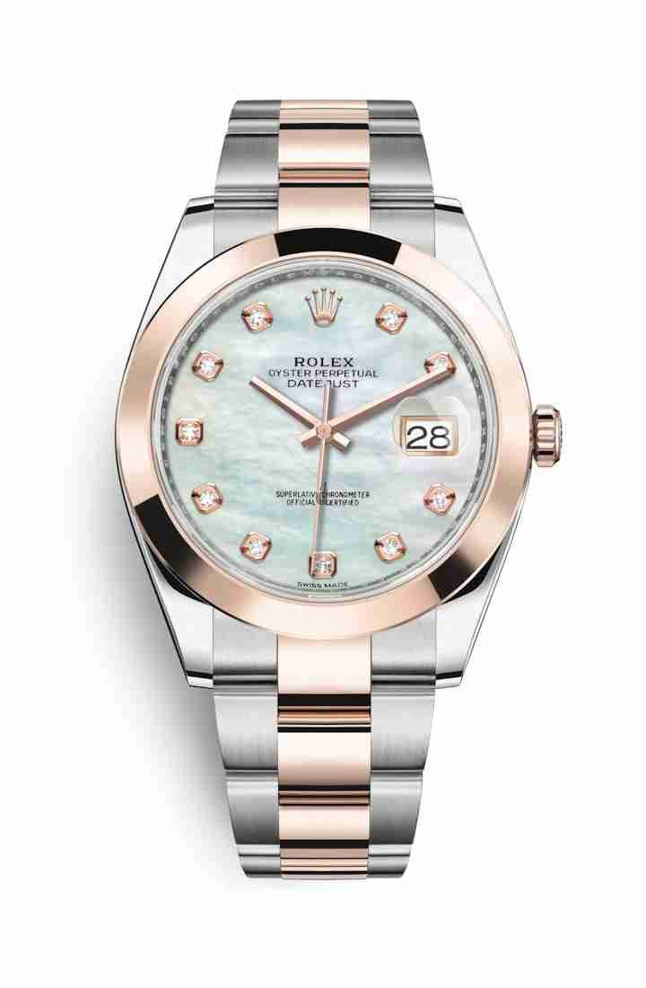 Rolex Datejust 41 Everose Rolesor Oystersteel Everose gold 126301 White mother-of-pearl set diamonds Dial