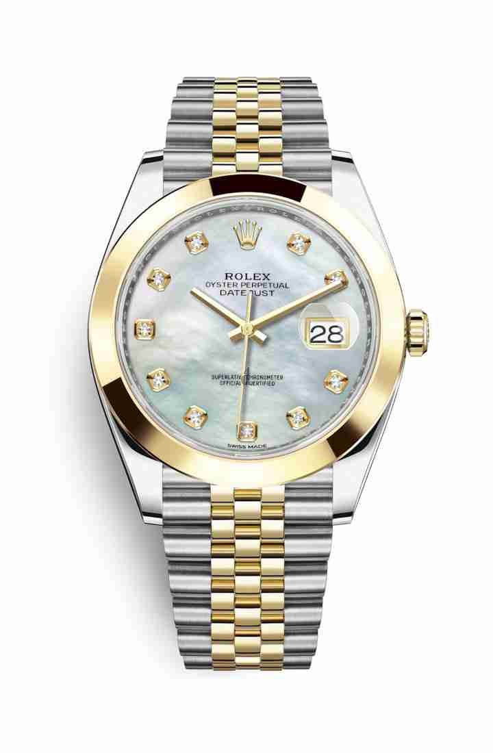 Rolex Datejust 41 Yellow Rolesor Oystersteel yellow gold 126303 White mother-of-pearl set diamonds Dial