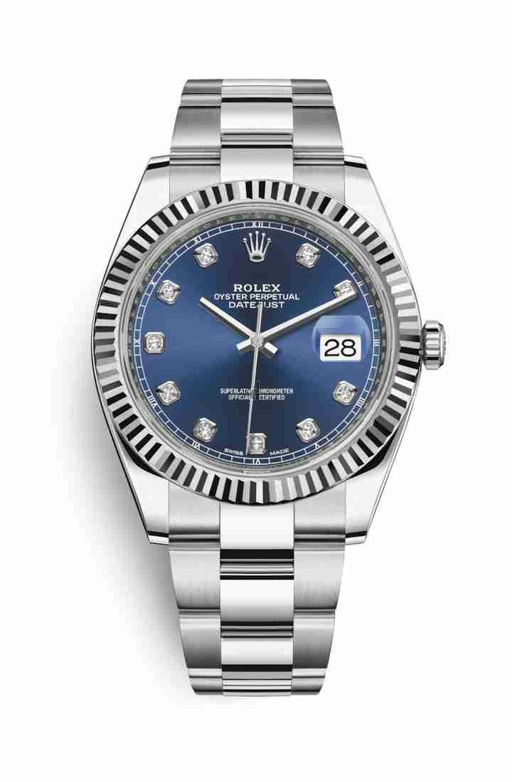 Rolex Datejust 41 White Rolesor Oystersteel white gold 126334 Blue set diamonds Dial