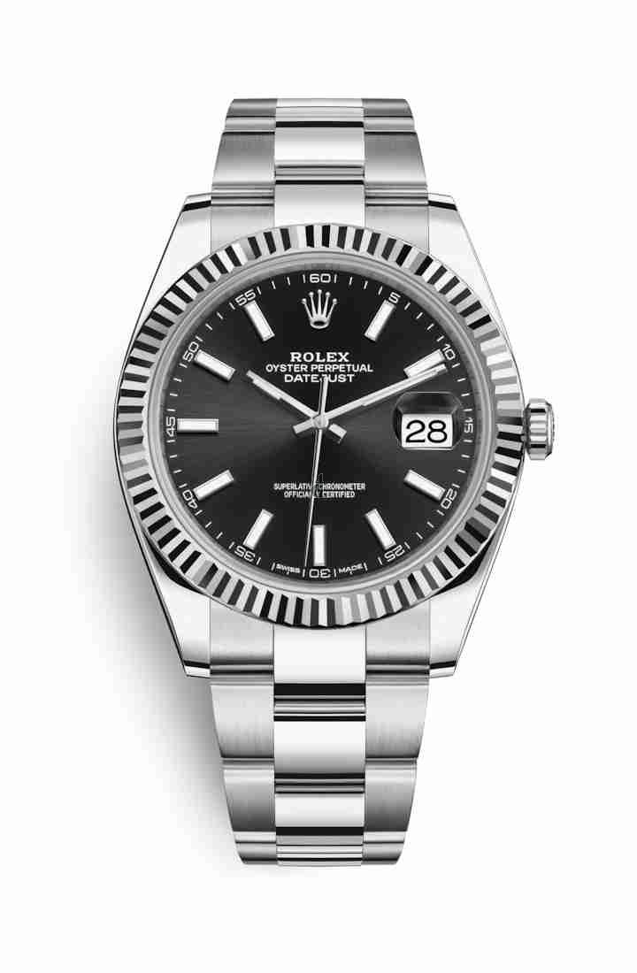Rolex Datejust 41 White Rolesor Oystersteel white gold 126334 Black Dial