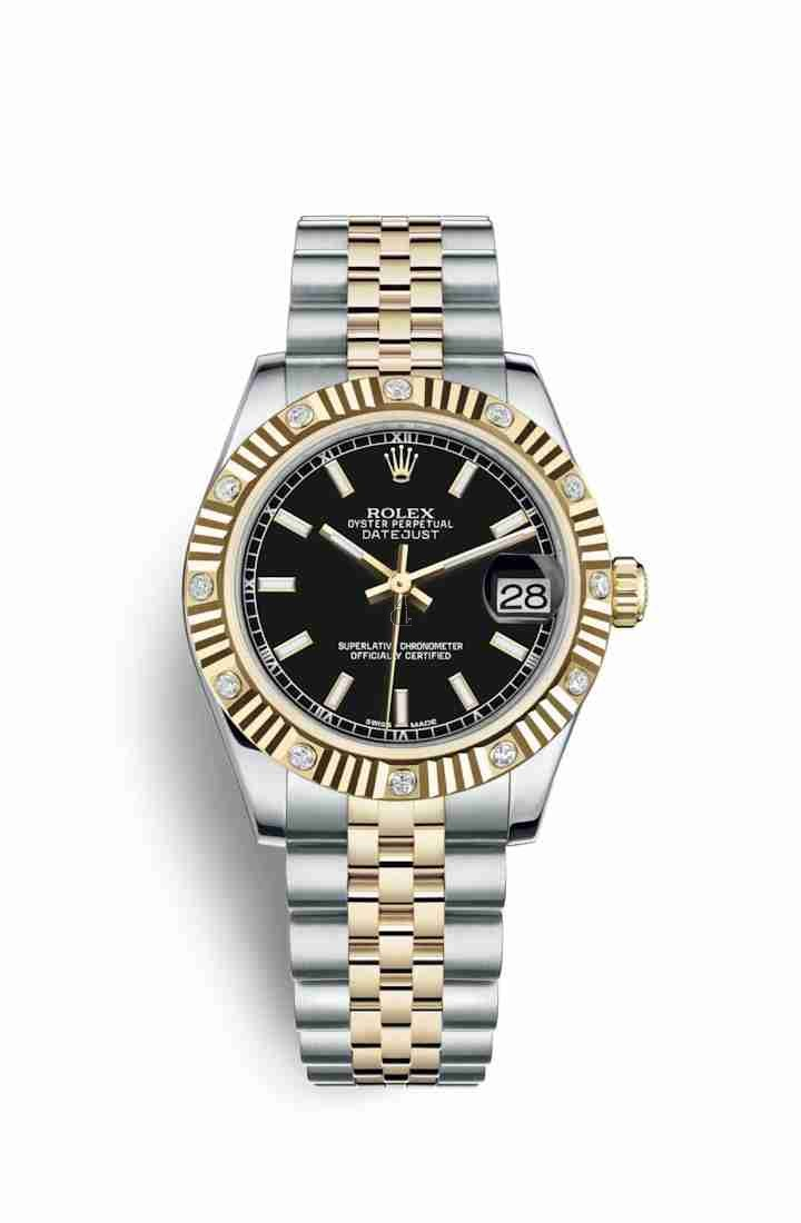 Rolex Datejust 31 Yellow Rolesor Oystersteel yellow gold 178313 Black Dial