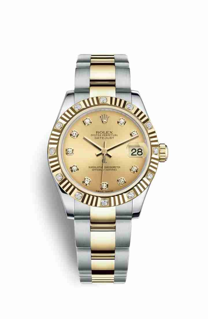 Rolex Datejust 31 Yellow Rolesor Oystersteel yellow gold 178313 Champagne-colour set diamonds Dial