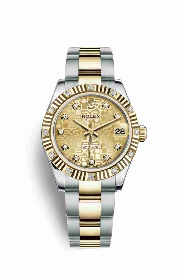 Rolex Datejust 31 Yellow Rolesor Oystersteel yellow gold 178313 Champagne-colour Jubilee design set diamonds Dial