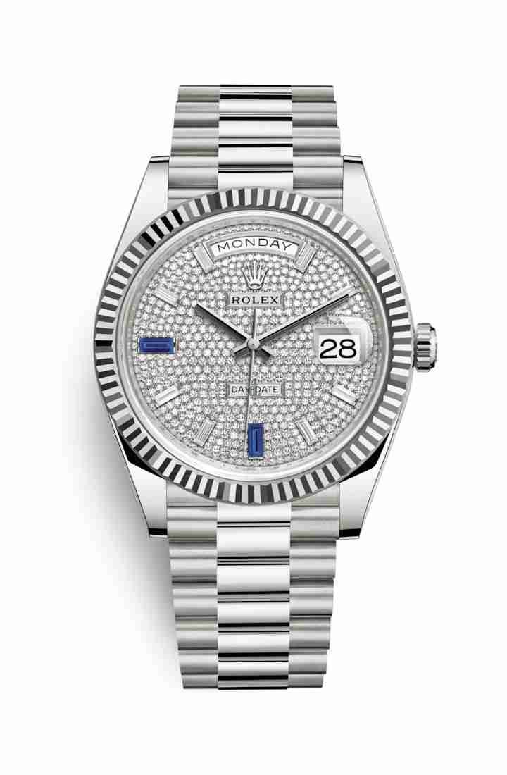 Rolex Day-Date 40 white gold 228239 Paved diamonds sapphires Dial
