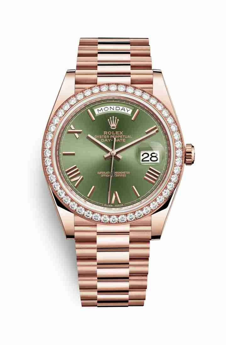 Rolex Day-Date 40 Everose gold 228345RBR Olive green Dial