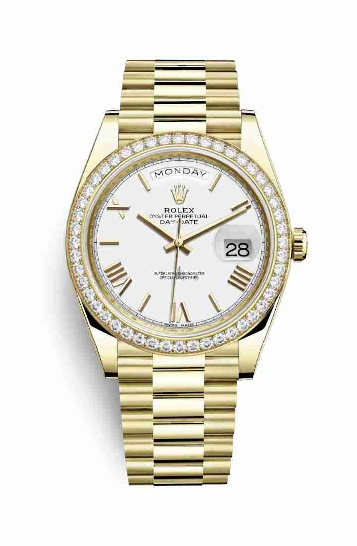 Rolex Day-Date 40 yellow gold 228348RBR White Dial
