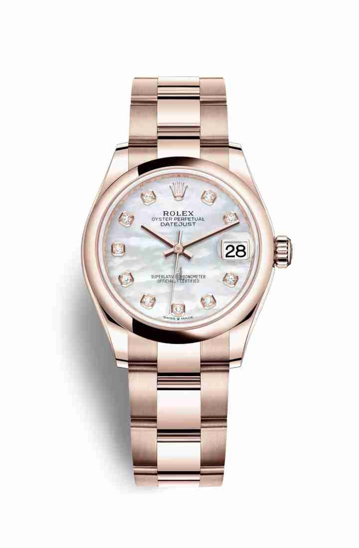 Rolex Datejust 31 Everose gold 278245 White mother-of-pearl set diamonds Dial