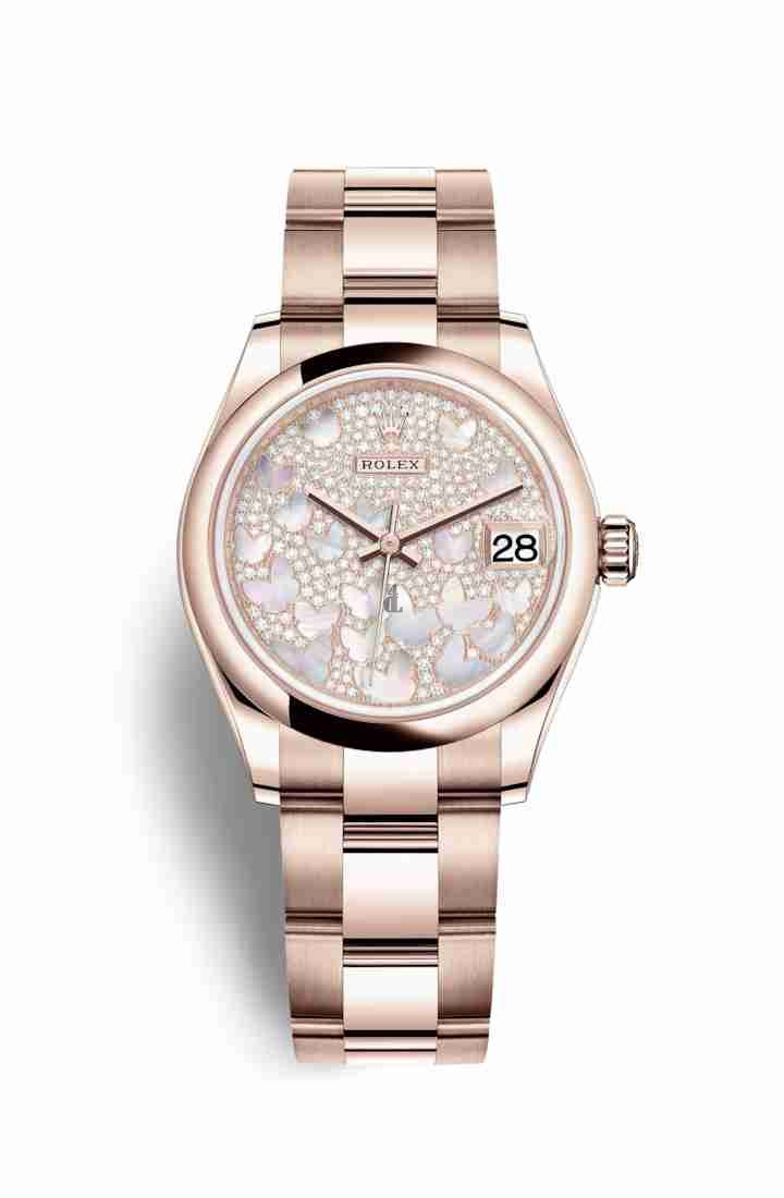 Rolex Datejust 31 Everose gold 278245 Paved mother-of-pearl butterfly Dial