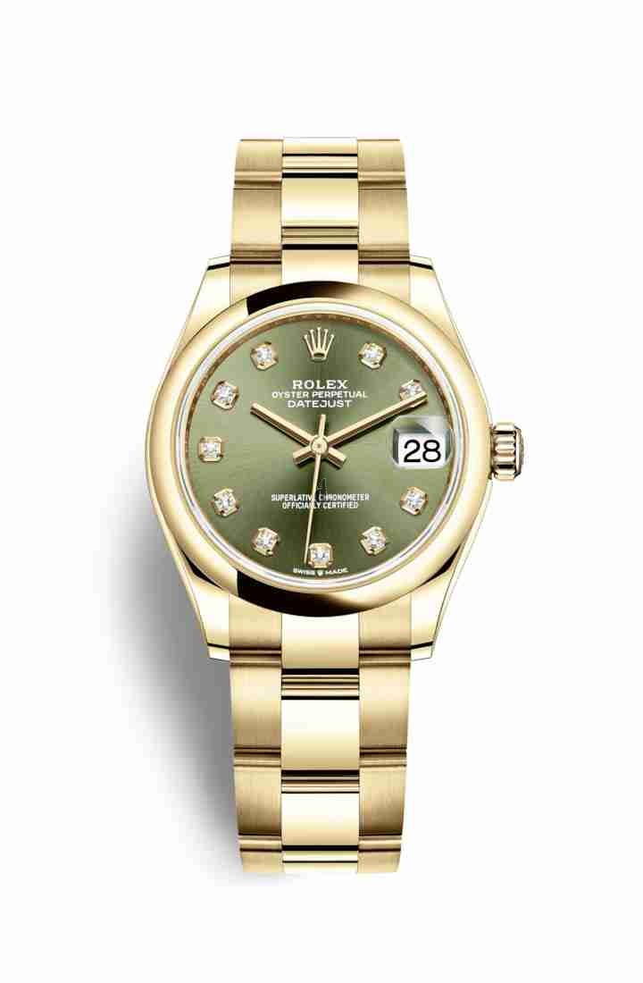 Rolex Datejust 31 yellow gold 278248 Olive green set diamonds Dial