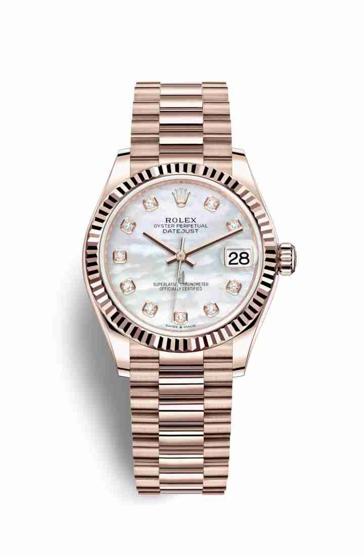 Rolex Datejust 31 Everose gold 278275 White mother-of-pearl set diamonds Dial