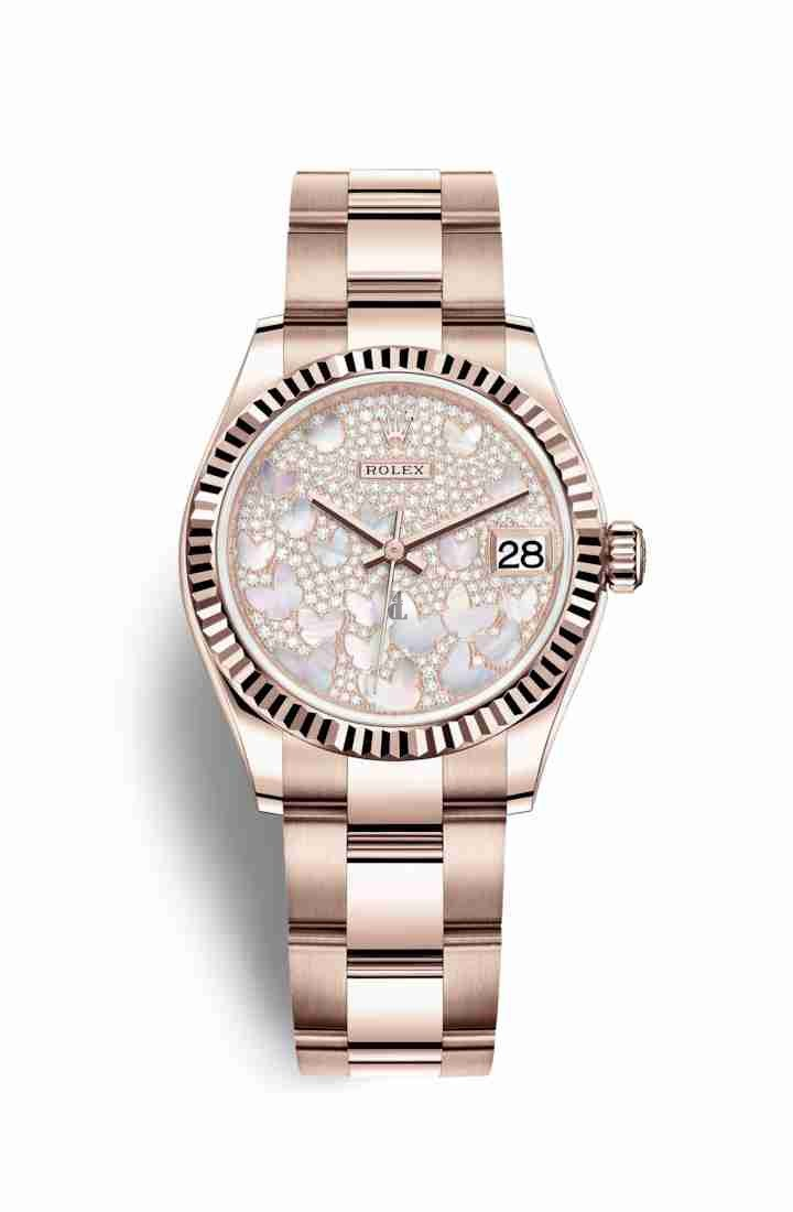 Rolex Datejust 31 Everose gold 278275 Paved mother-of-pearl butterfly Dial