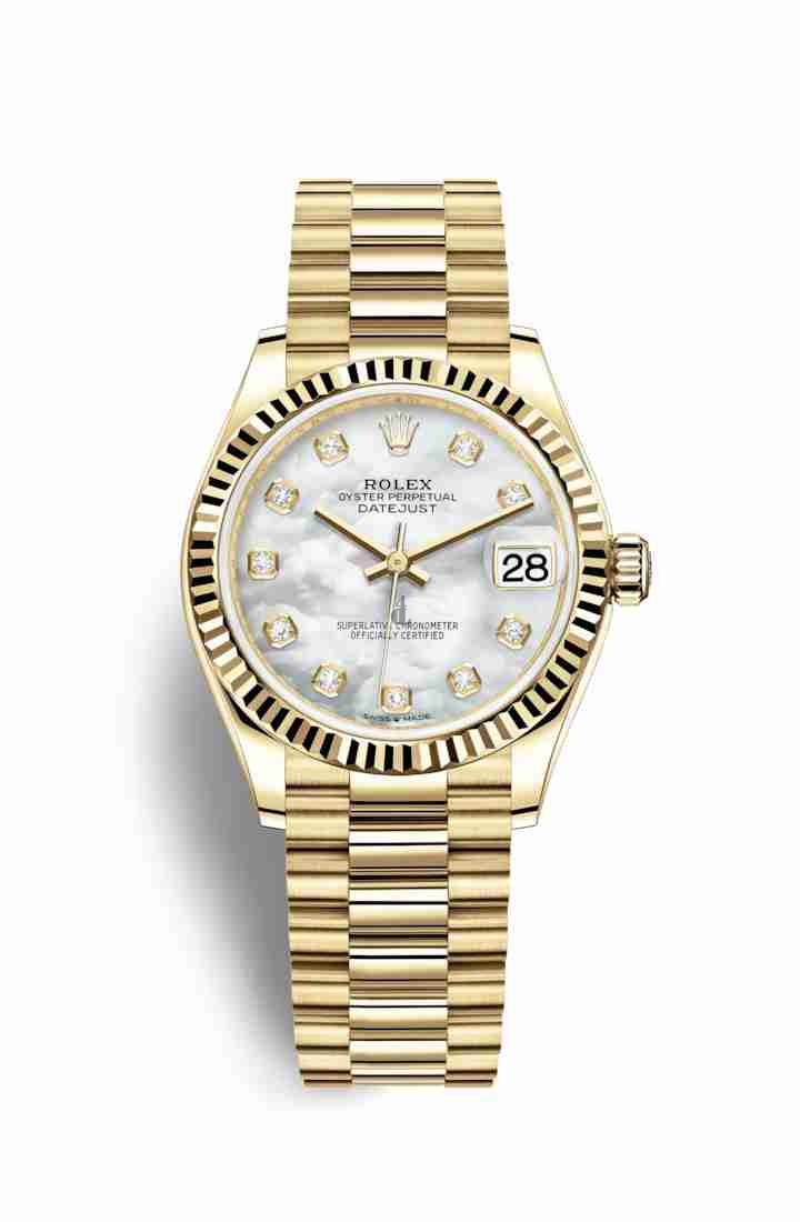 Rolex Datejust 31 yellow gold 278278 White mother-of-pearl set diamonds Dial