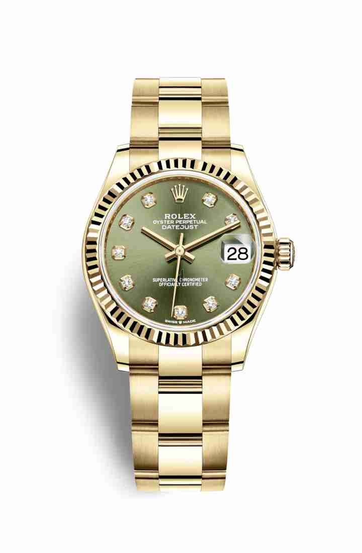 Rolex Datejust 31 yellow gold 278278 Olive green set diamonds Dial