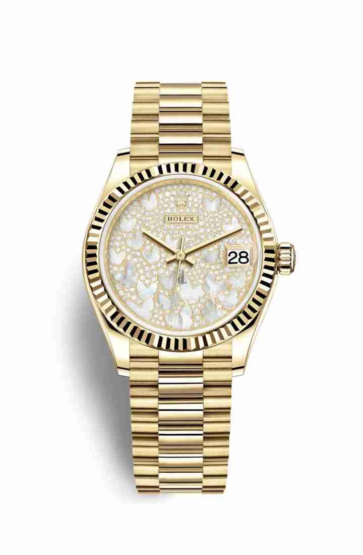 Rolex Datejust 31 yellow gold 278278 Paved mother-of-pearl butterfly Dial