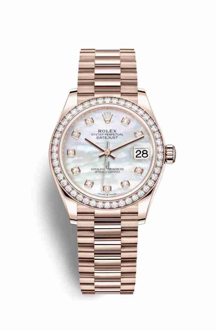 Rolex Datejust 31 Everose gold 278285RBR White mother-of-pearl set diamonds Dial