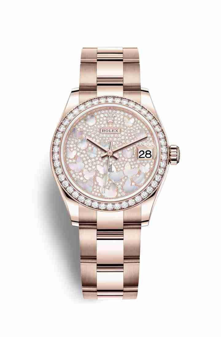 Rolex Datejust 31 Everose gold 278285RBR Paved mother-of-pearl butterfly Dial