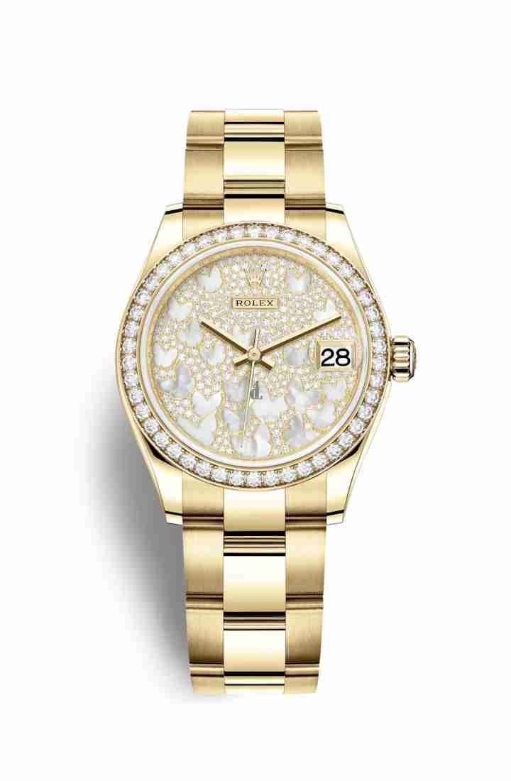 Rolex Datejust 31 yellow gold 278288RBR Paved mother-of-pearl butterfly Dial