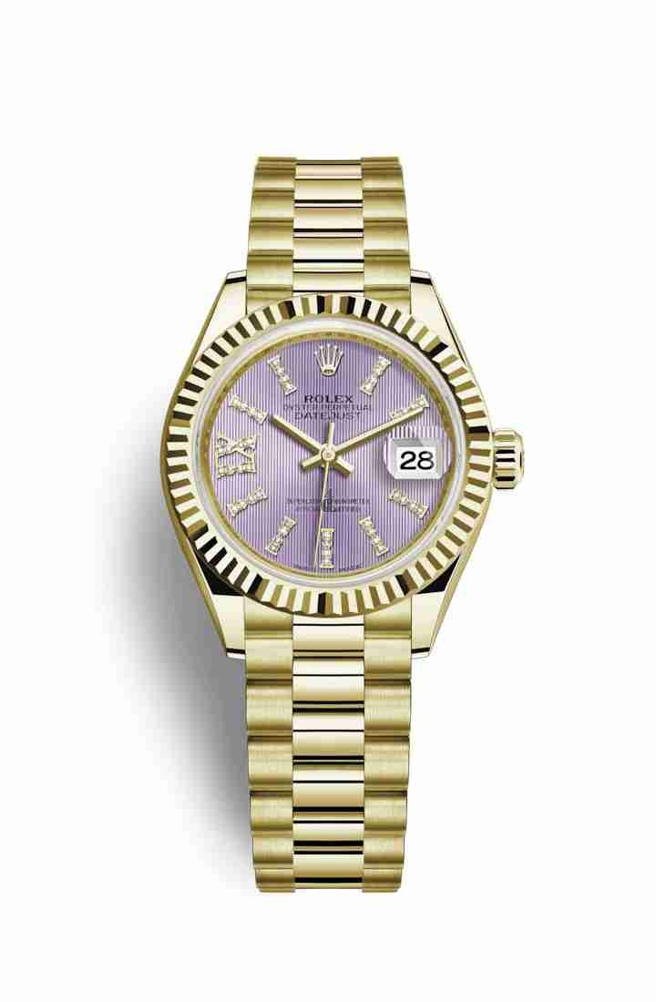 Rolex Datejust 28 yellow gold 279178 Lilac set diamonds Dial