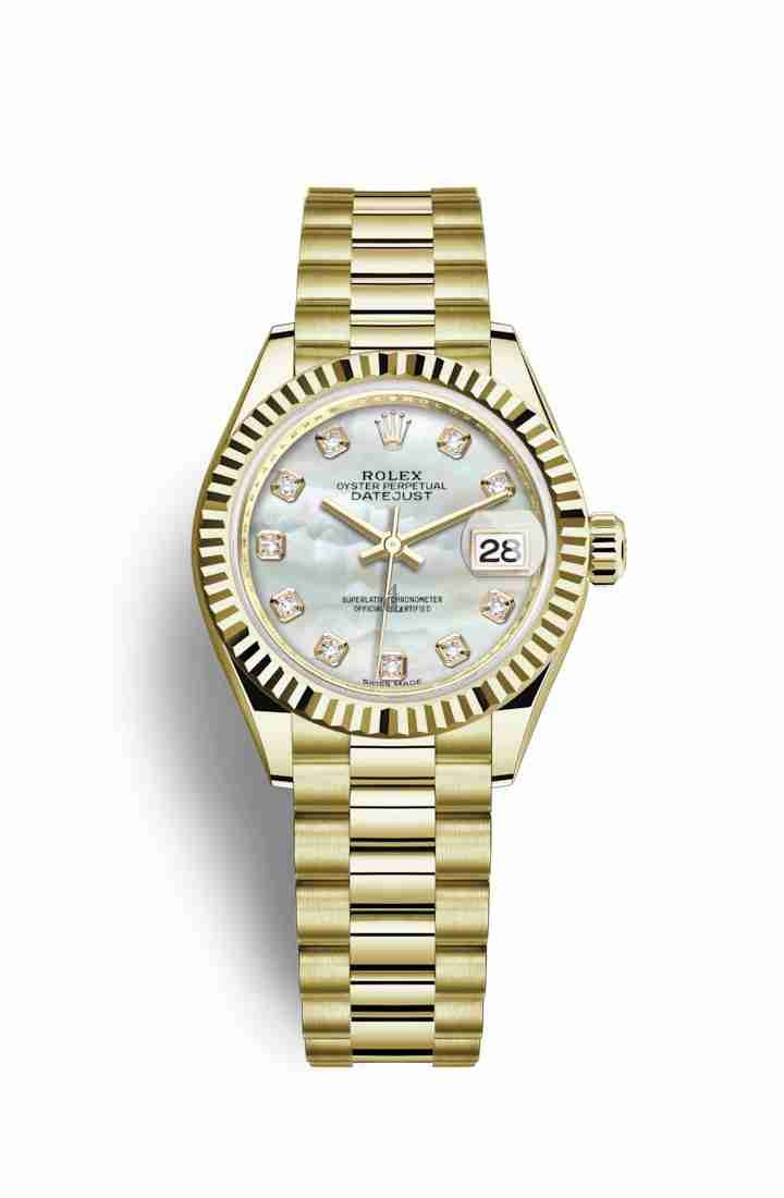 Rolex Datejust 28 yellow gold 279178 White mother-of-pearl set diamonds Dial