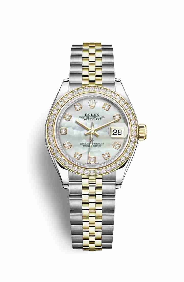 Rolex Datejust 28 Yellow Rolesor Oystersteel yellow gold 279383RBR White mother-of-pearl set diamonds Dial