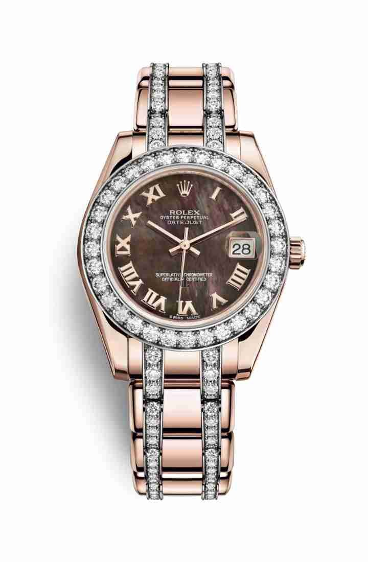 Rolex Pearlmaster 34 Everose gold 81285 Black mother-of-pearl Dial