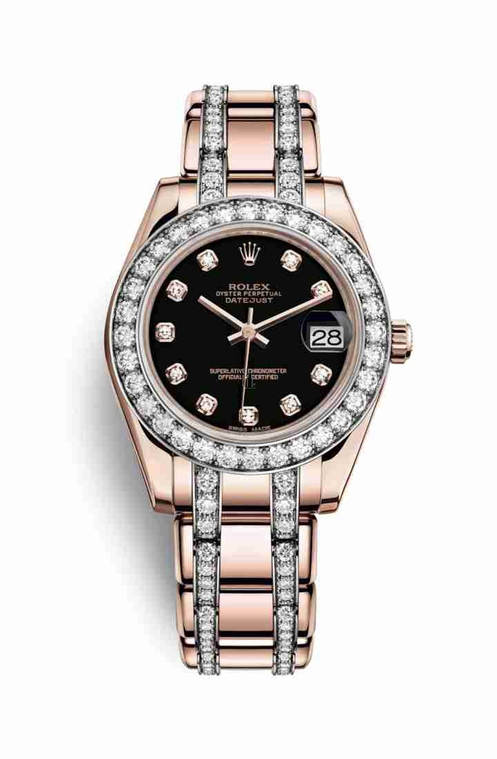 Rolex Pearlmaster 34 Everose gold 81285 Black set diamonds Dial