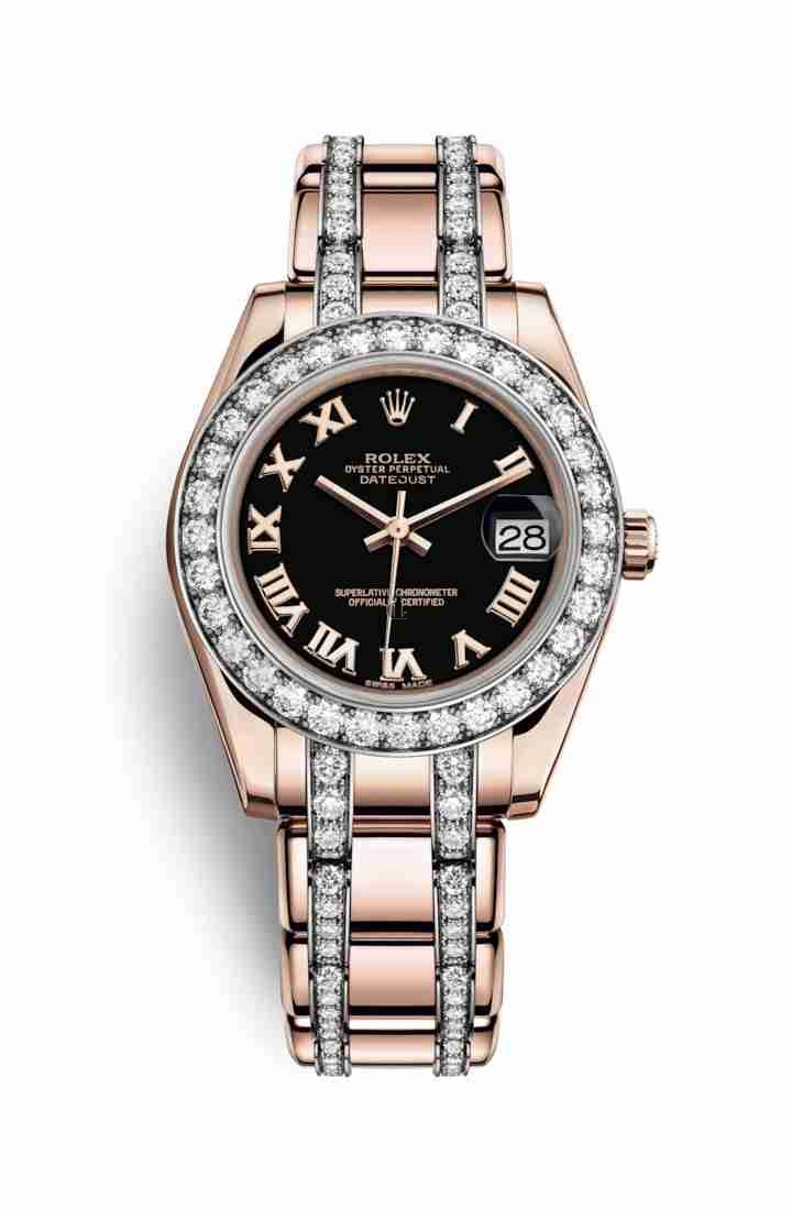 Rolex Pearlmaster 34 Everose gold 81285 Black Dial