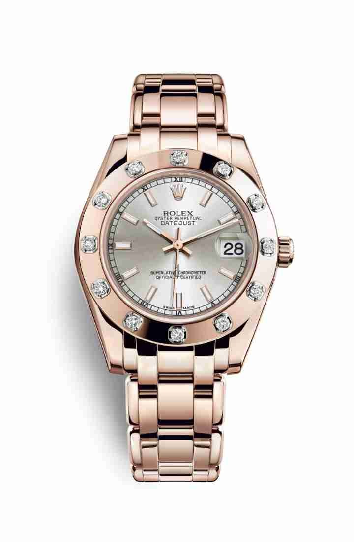 Rolex Pearlmaster 34 Everose gold 81315 Silver Dial