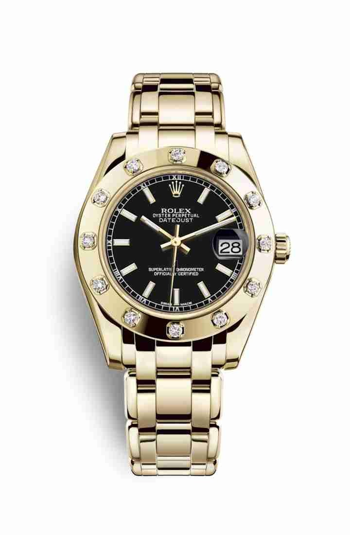 Rolex Pearlmaster 34 yellow gold 81318 Black Dial