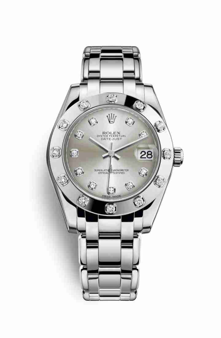 Rolex Pearlmaster 34 white gold 81319 Silver set diamonds Dial