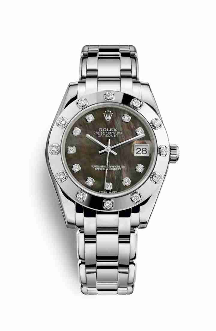 Rolex Pearlmaster 34 white gold 81319 Black mother-of-pearl set diamonds Dial