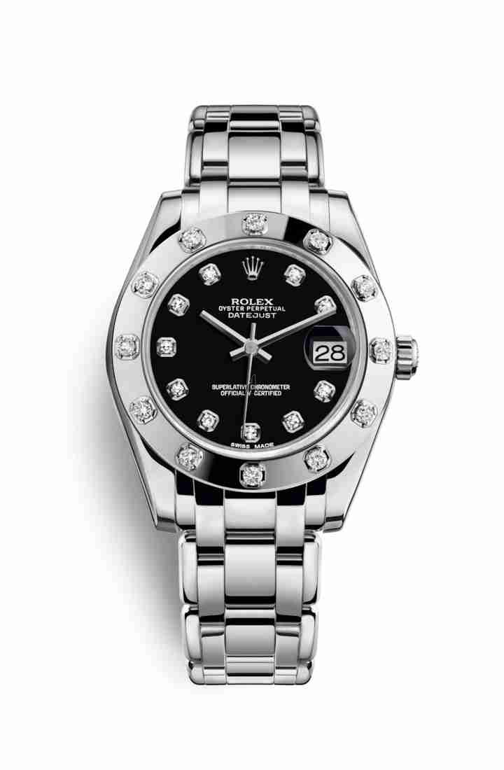 Rolex Pearlmaster 34 white gold 81319 Black set diamonds Dial