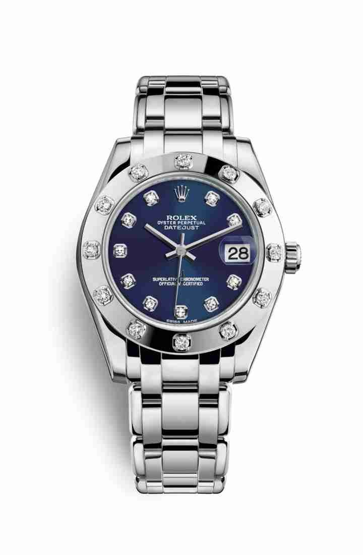 Rolex Pearlmaster 34 white gold 81319 Blue set diamonds Dial
