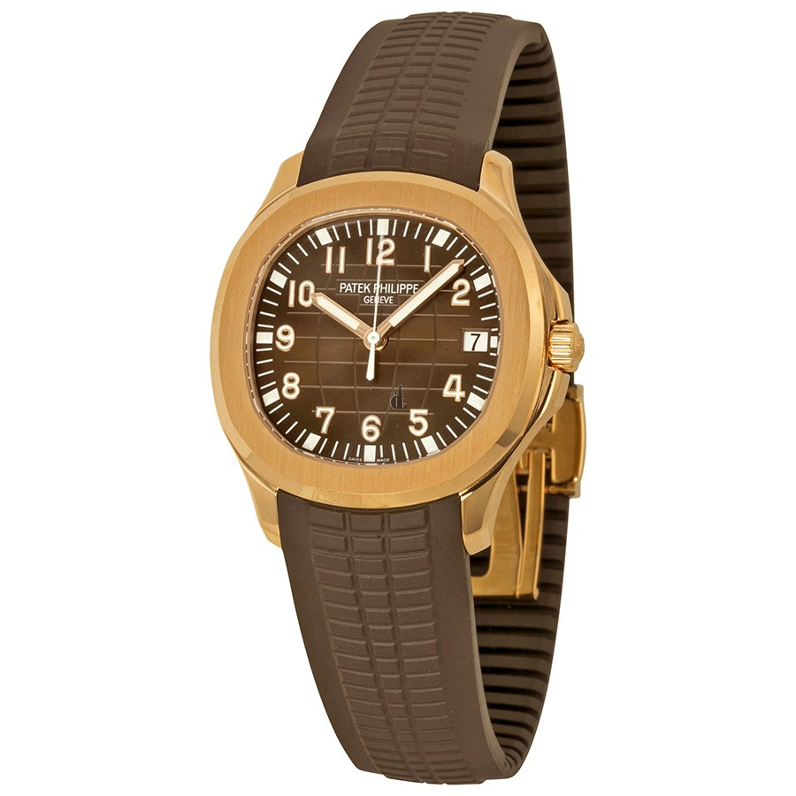 Fake Patek Philippe Aquanaut Brown Dial 18k Rose Gold Brown Rubber Automatic Men's Watch 5167R-001