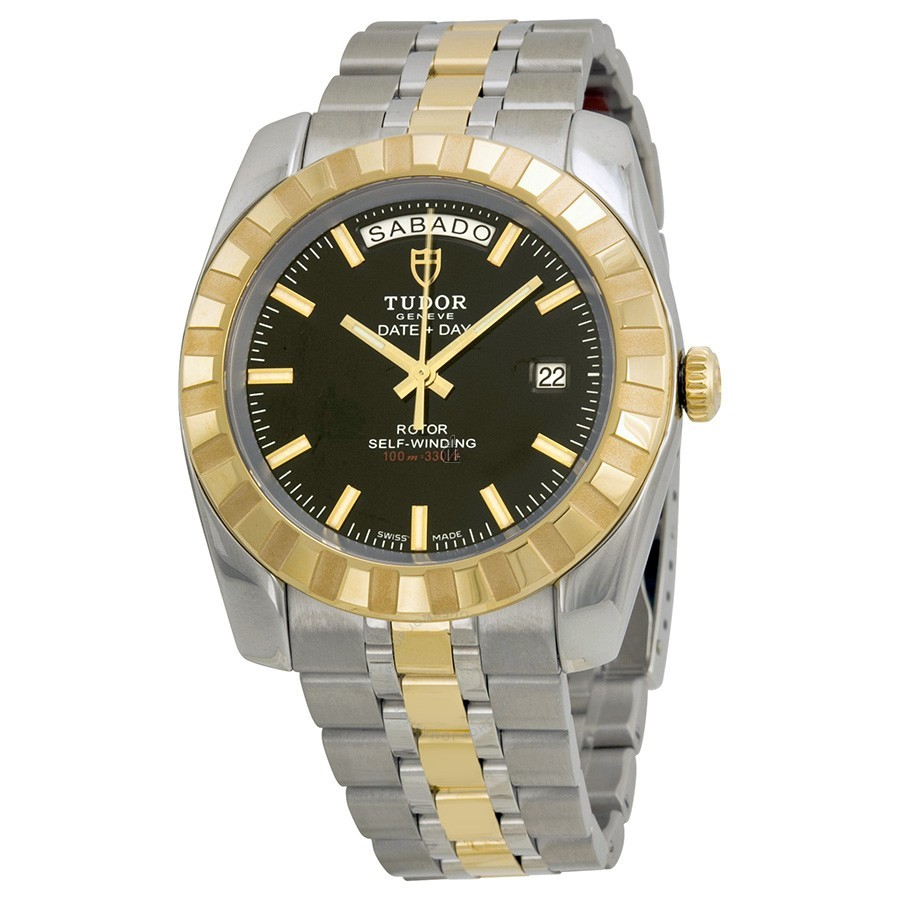 Tudor Dateand Day Classic Automatic Black Dial Stainless Steeland Yellow Gold 23013-BKSTT Replica