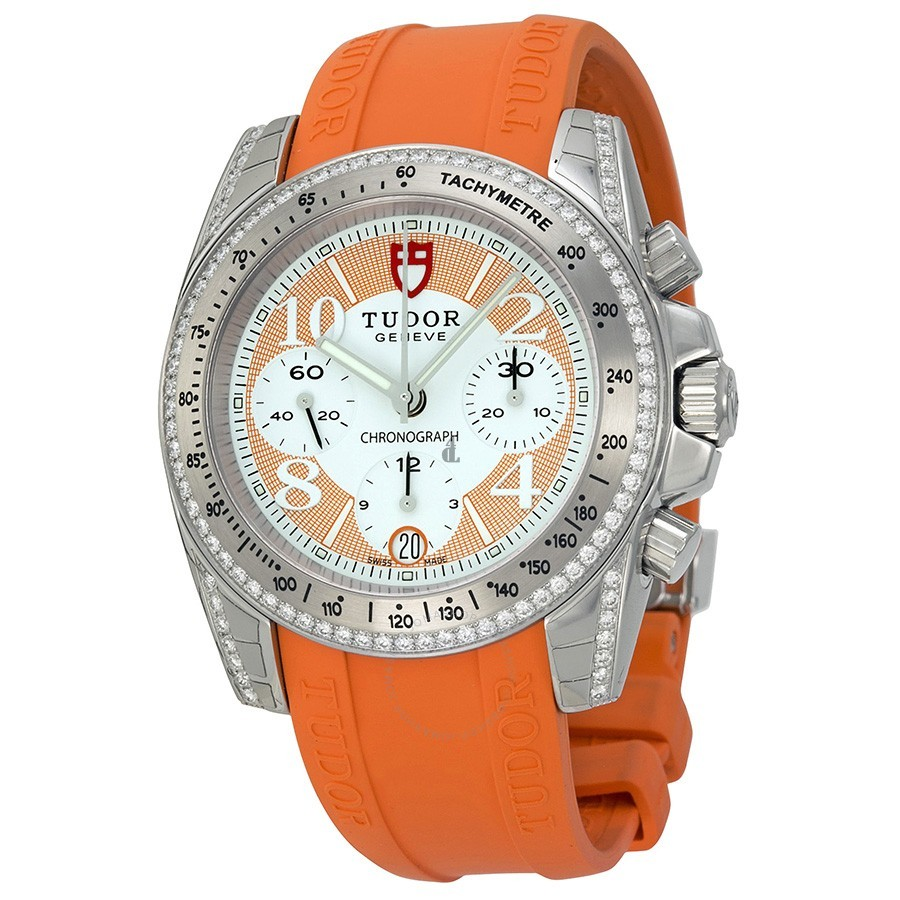 Tudor Chronograph Dial Diamond Orange Rubber Ladies Watch 20310-WOASORS Replica