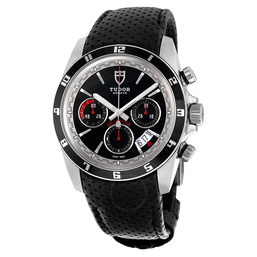 Tudor Grantour Chronograph Automatic Black Dial Black Leather 20530N-BKMCPL Replica