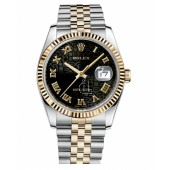 Fake Rolex Datejust 36mm Steel and Yellow Gold Black Jubilee Dial 116233 BKJRJ.