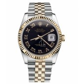 Fake Rolex Datejust 36mm Steel and Yellow Gold Black Sunbeam Dial 116233 BKSBRJ.