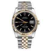 Fake Rolex Datejust 36mm Steel and Yellow Gold Black Dial 116233 BKSJ.