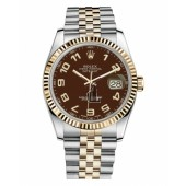 Fake Rolex Datejust 36mm Steel and Yellow Gold Brown Dial 116233 BRAJ.