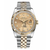Fake Rolex Datejust 36mm Steel and Yellow Gold Champagne Dial 116233 CHDJ.