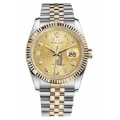 Fake Rolex Datejust 36mm Steel and Yellow Gold Champagne Jubilee Dial 116233 CHJDJ.