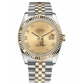 Fake Rolex Datejust 36mm Steel and Yellow Gold Champagne Dial 116233 CHRJ.