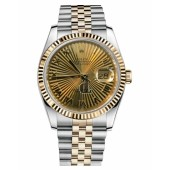 Fake Rolex Datejust 36mm Steel and Yellow Gold Champagne Sunbeam Dial 116233 CHSBRJ.