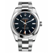 Fake Rolex Milgauss Stainless Steel Black dial 116400 BKO.