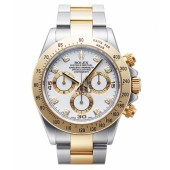 Fake Rolex Daytona Steel and Gold White dial 116523 WD.