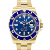 Fake Rolex Submariner Date Yellow Gold Blue Dial 116618LB.