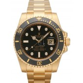 Fake Rolex Submariner Date Yellow Gold Black Dial 116618LN.
